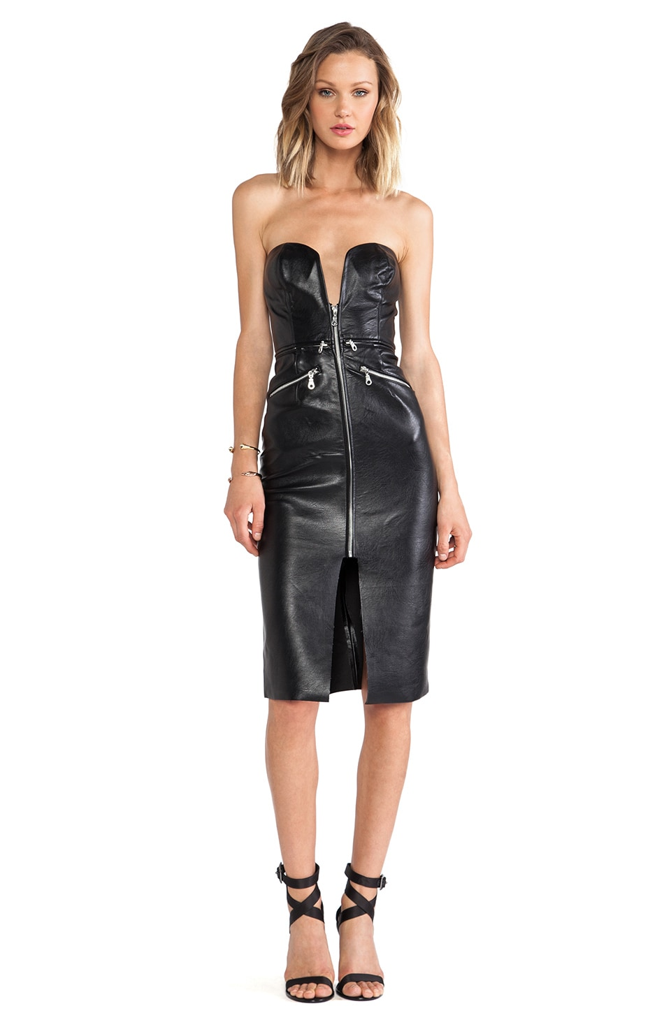 Shakuhachi Leather Zip Me Up Dress in Black