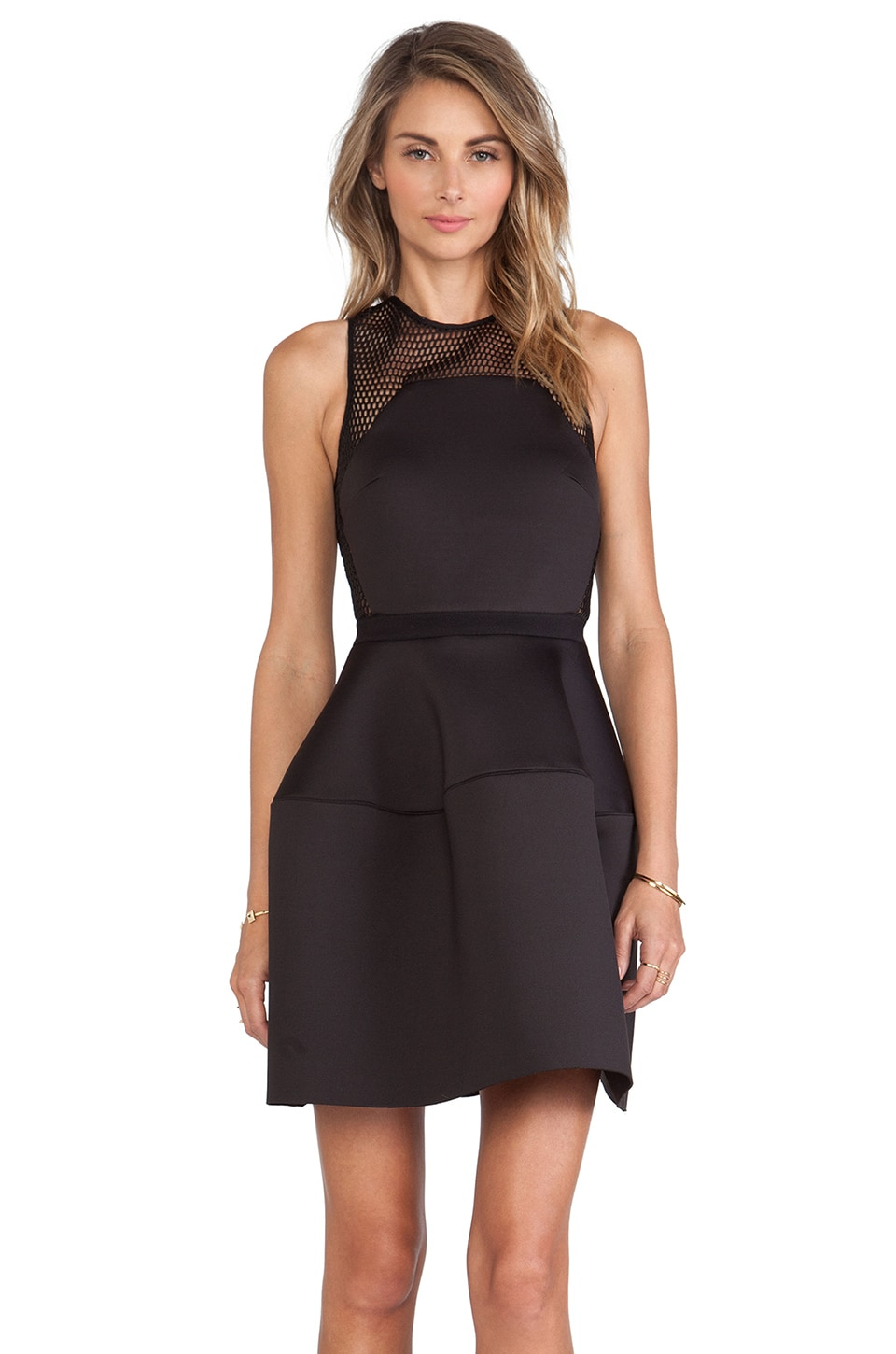 Shakuhachi Mesh Neoprene Tulip Dress in Black
