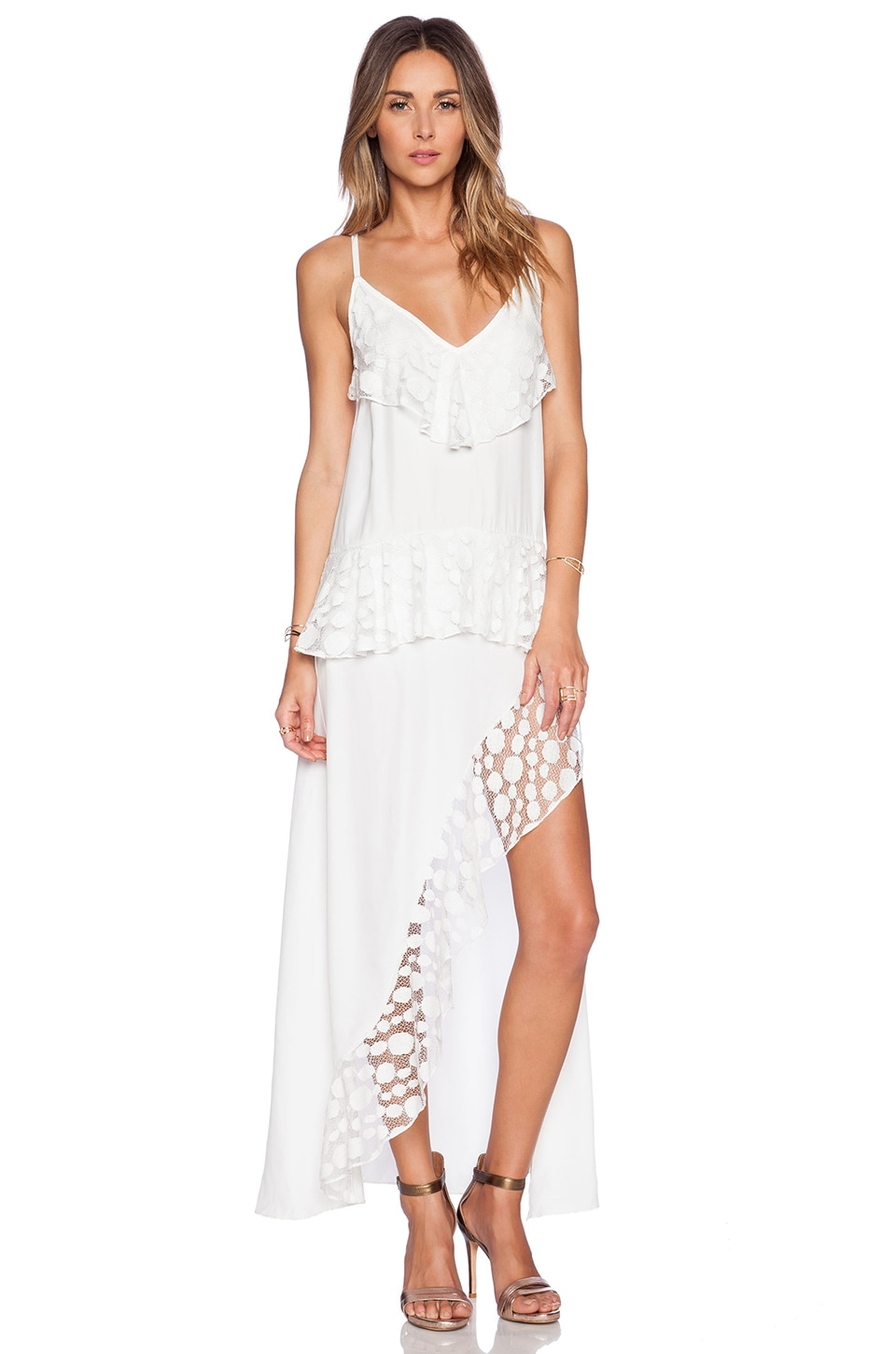 shakuhachi stevie lace trim split dress in white | revolve