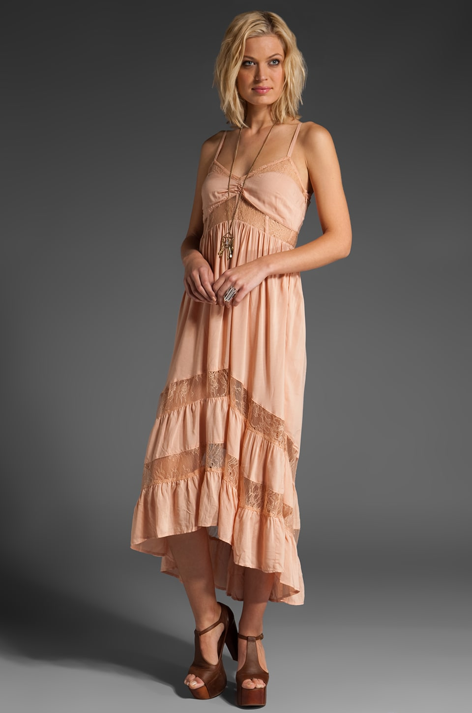 Shakuhachi Lace Paneled Maxi Dress in Blush