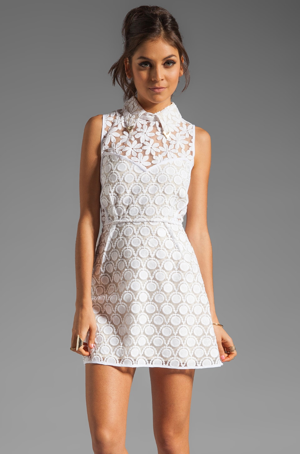 Shakuhachi New Romantics Collared Party Dress in White
