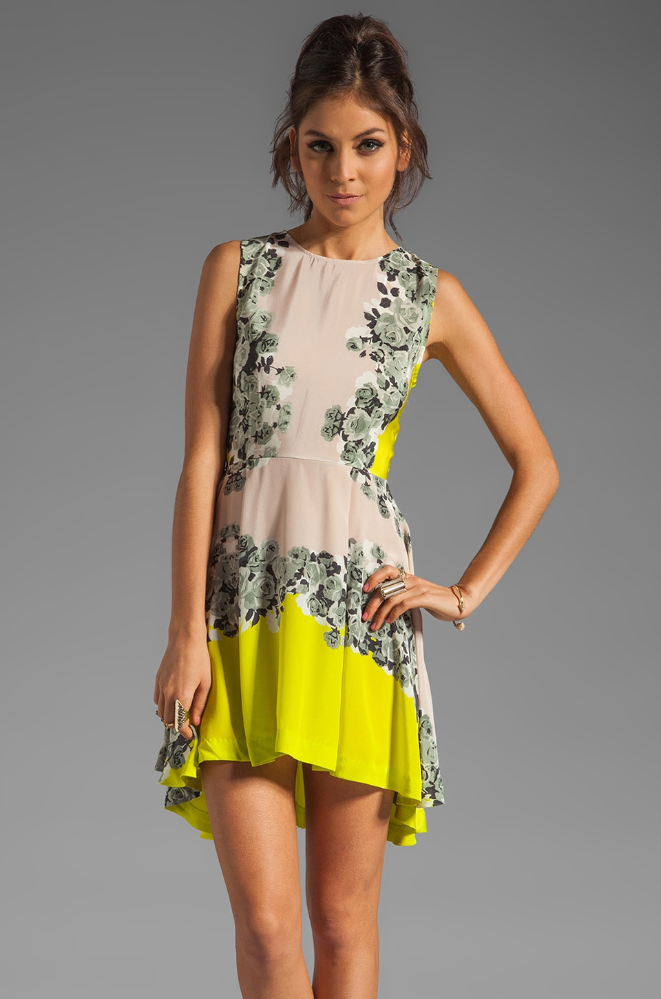 Shakuhachi Acid Bloom Kick Out Dress in Citrus