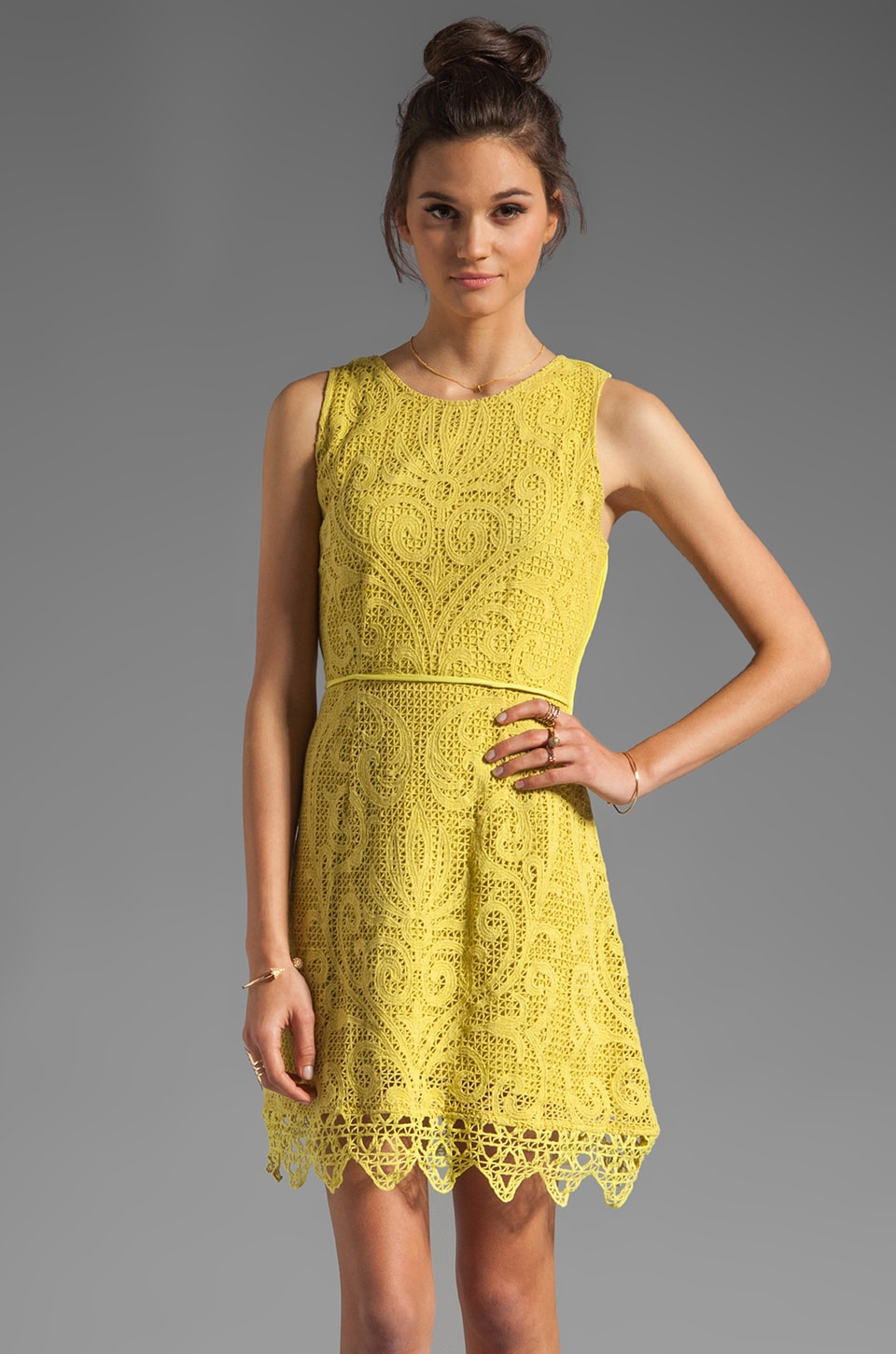 Shakuhachi Noveau Crochet Flip Party Dress in Citrus