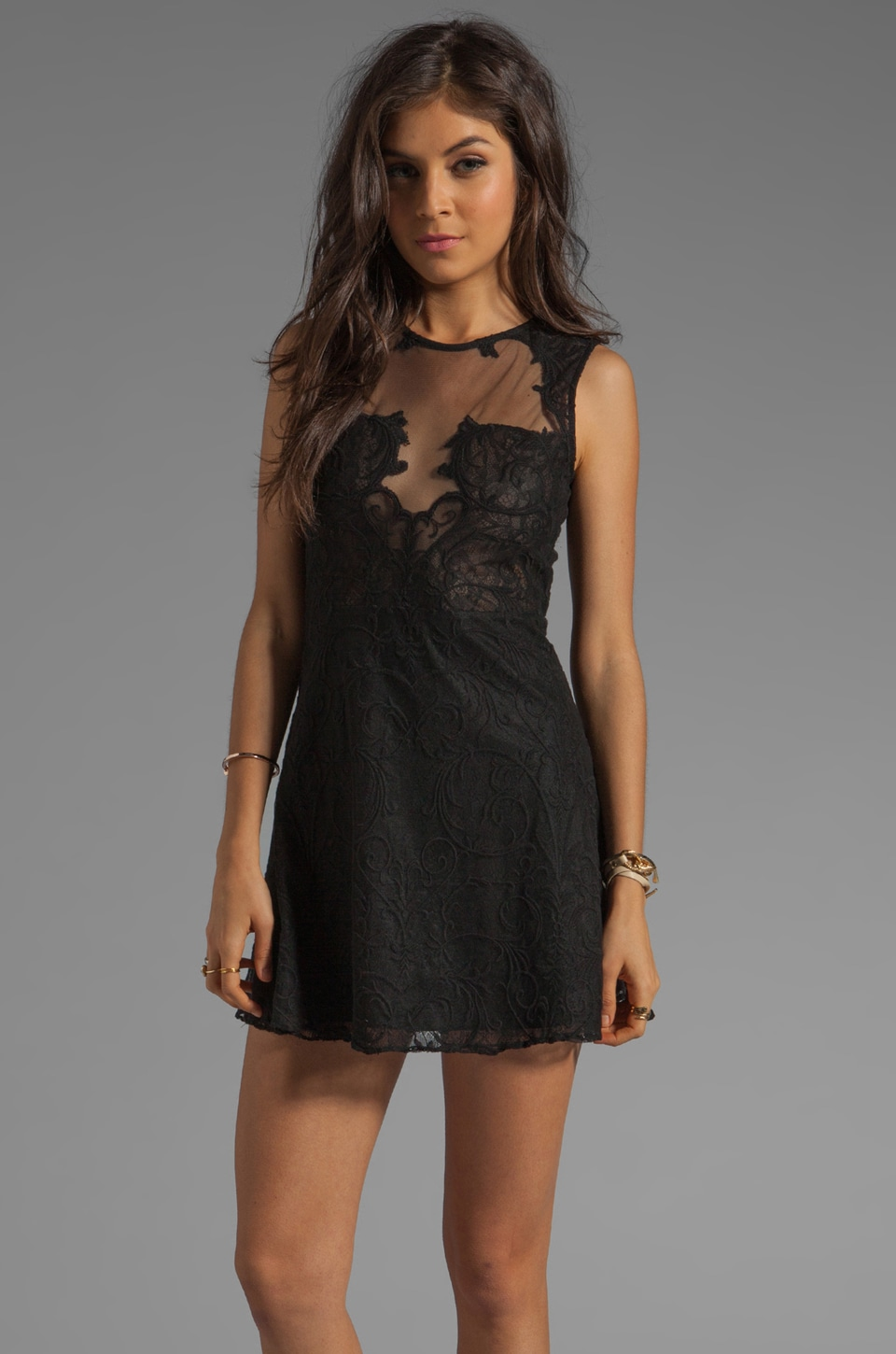 Shakuhachi Nouveau Mesh and Lace Flip Dress in Black