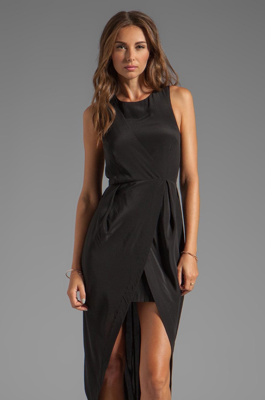 Shakuhachi Silk Drape Petal Dress in Black