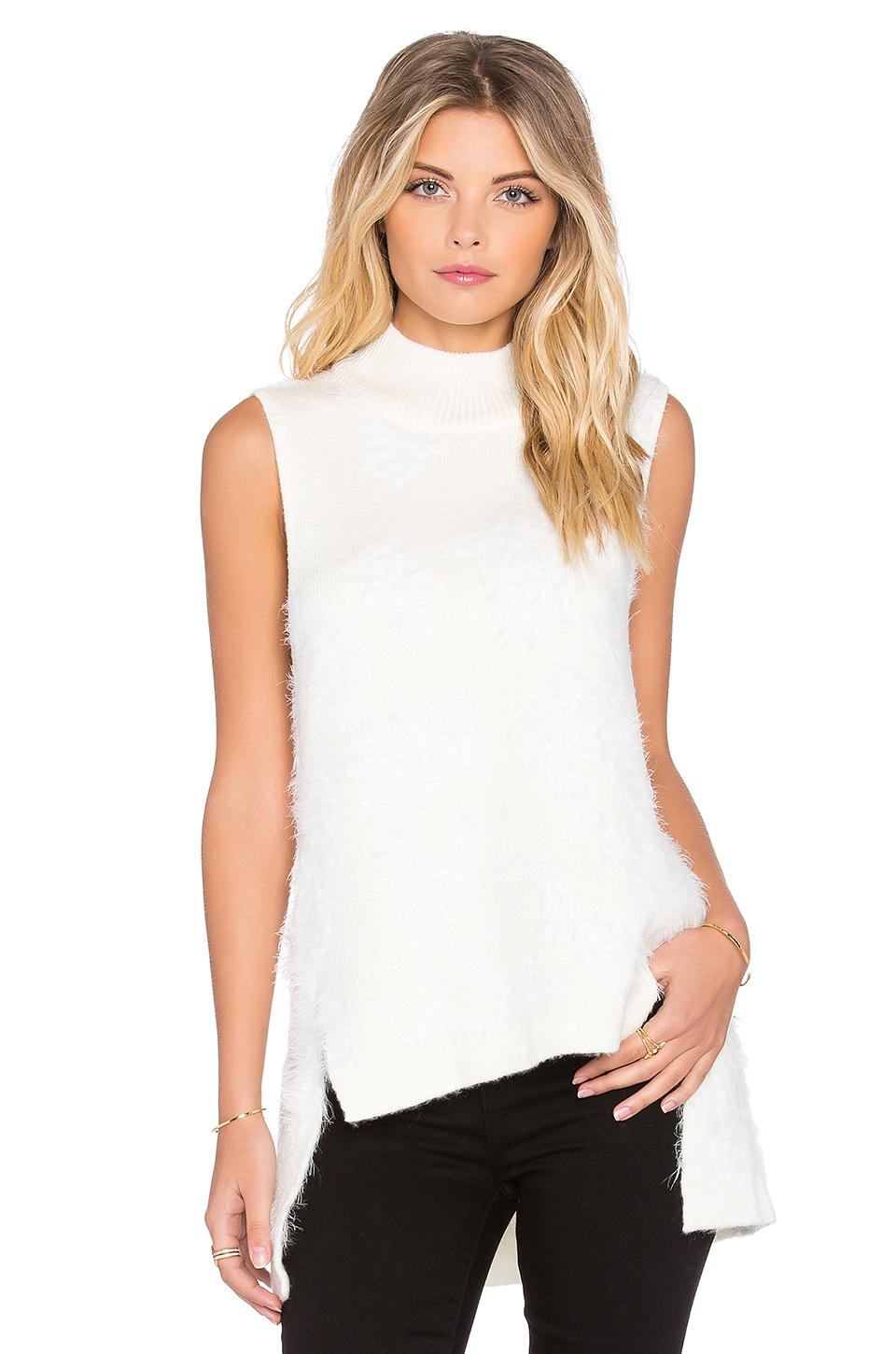 Shakuhachi Arctic Fluff Turtle Neck Tank in Cream