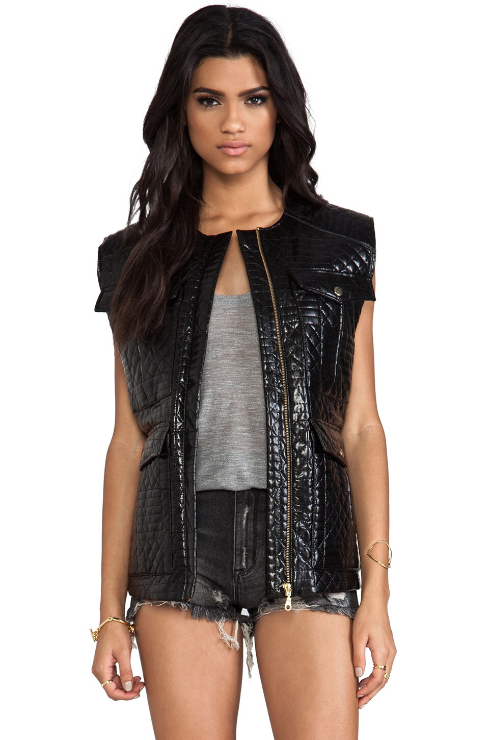 Shakuhachi Quilted Vest in Black