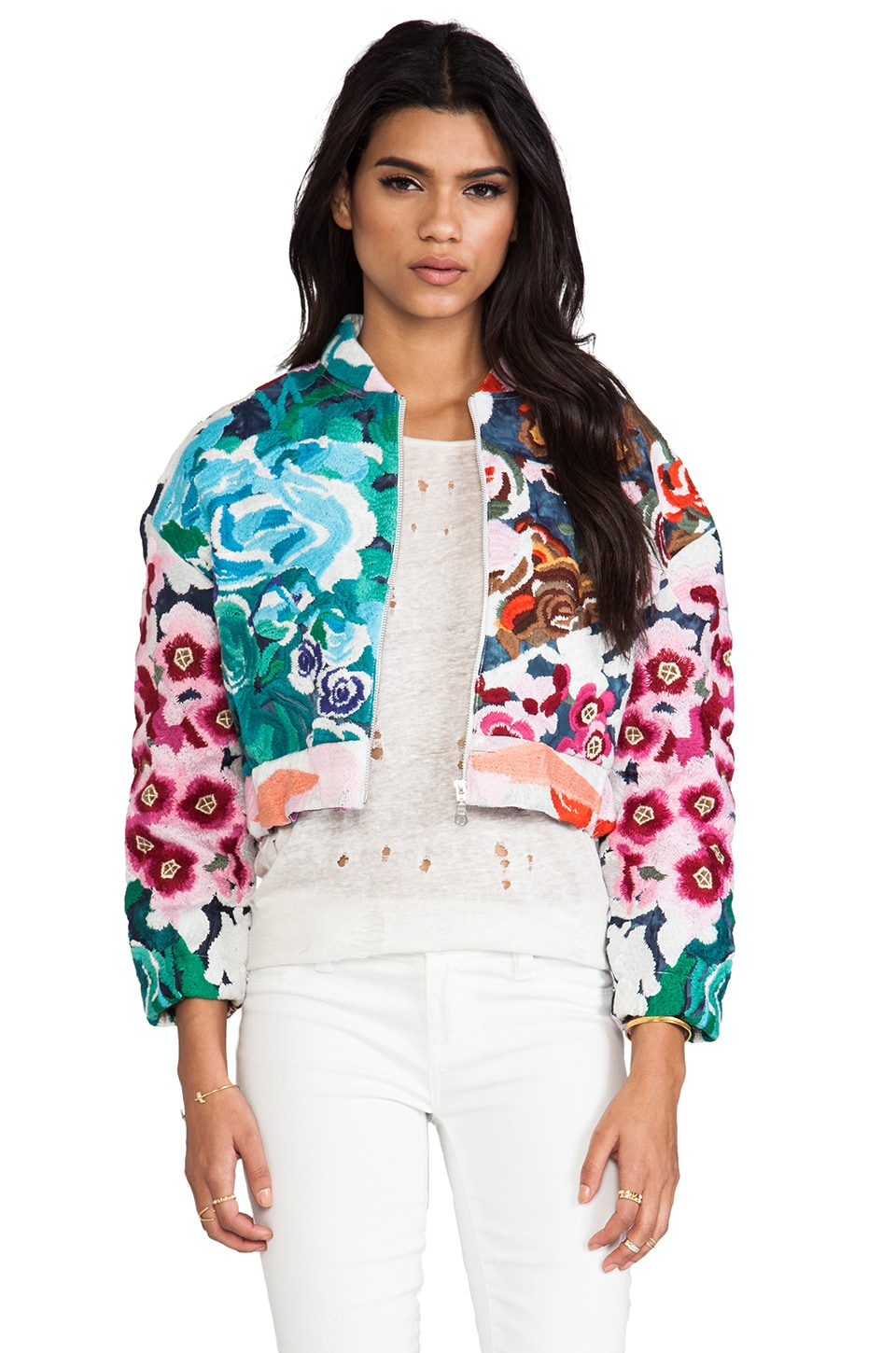 Shakuhachi Flower Bomb Embroidered Bomber in Floral Splice