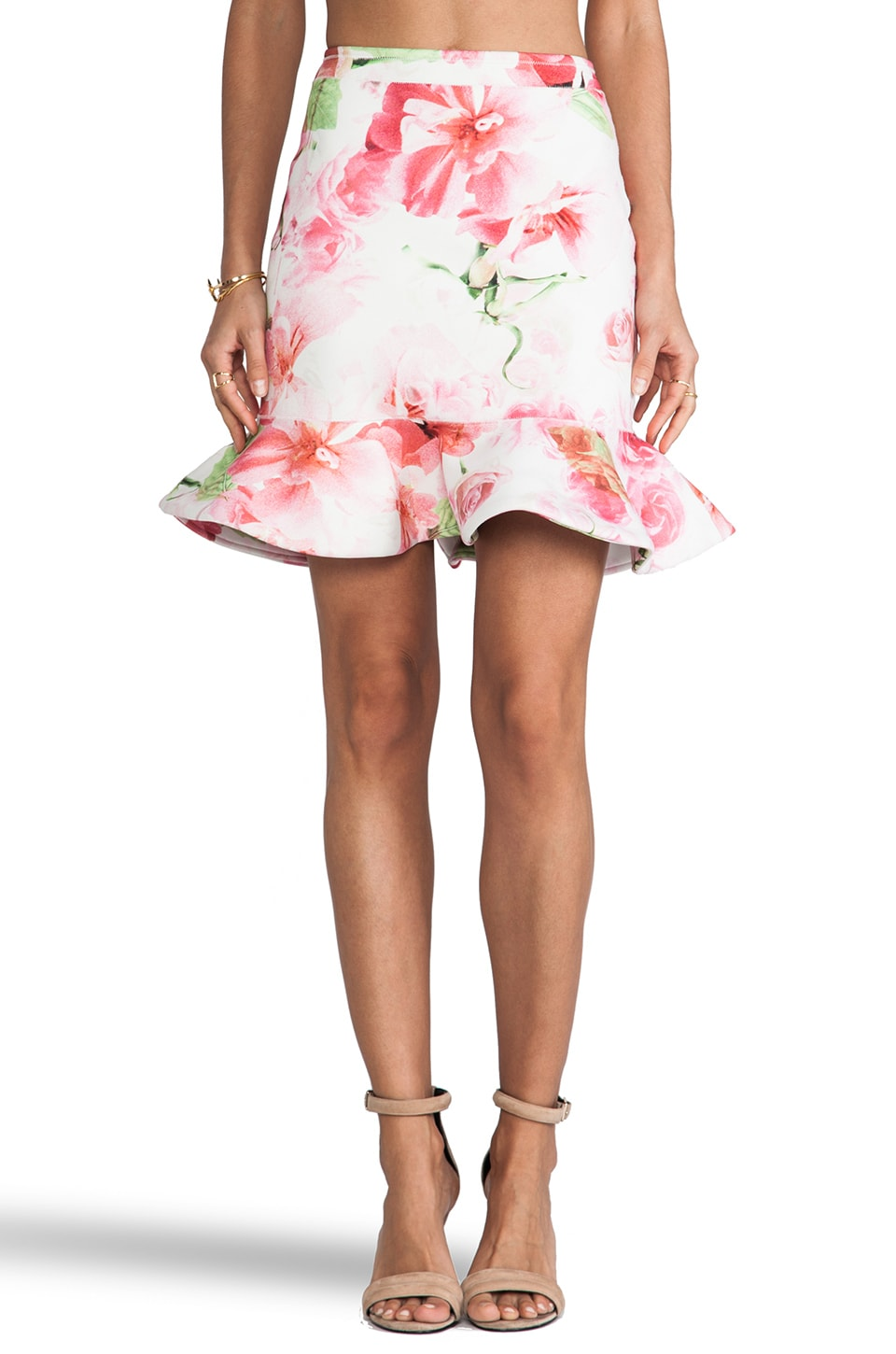 Shakuhachi A Midsummer Nights Bonded Peplum Skirt in Pink Floral