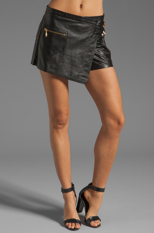 Shakuhachi Leather Skort in Black