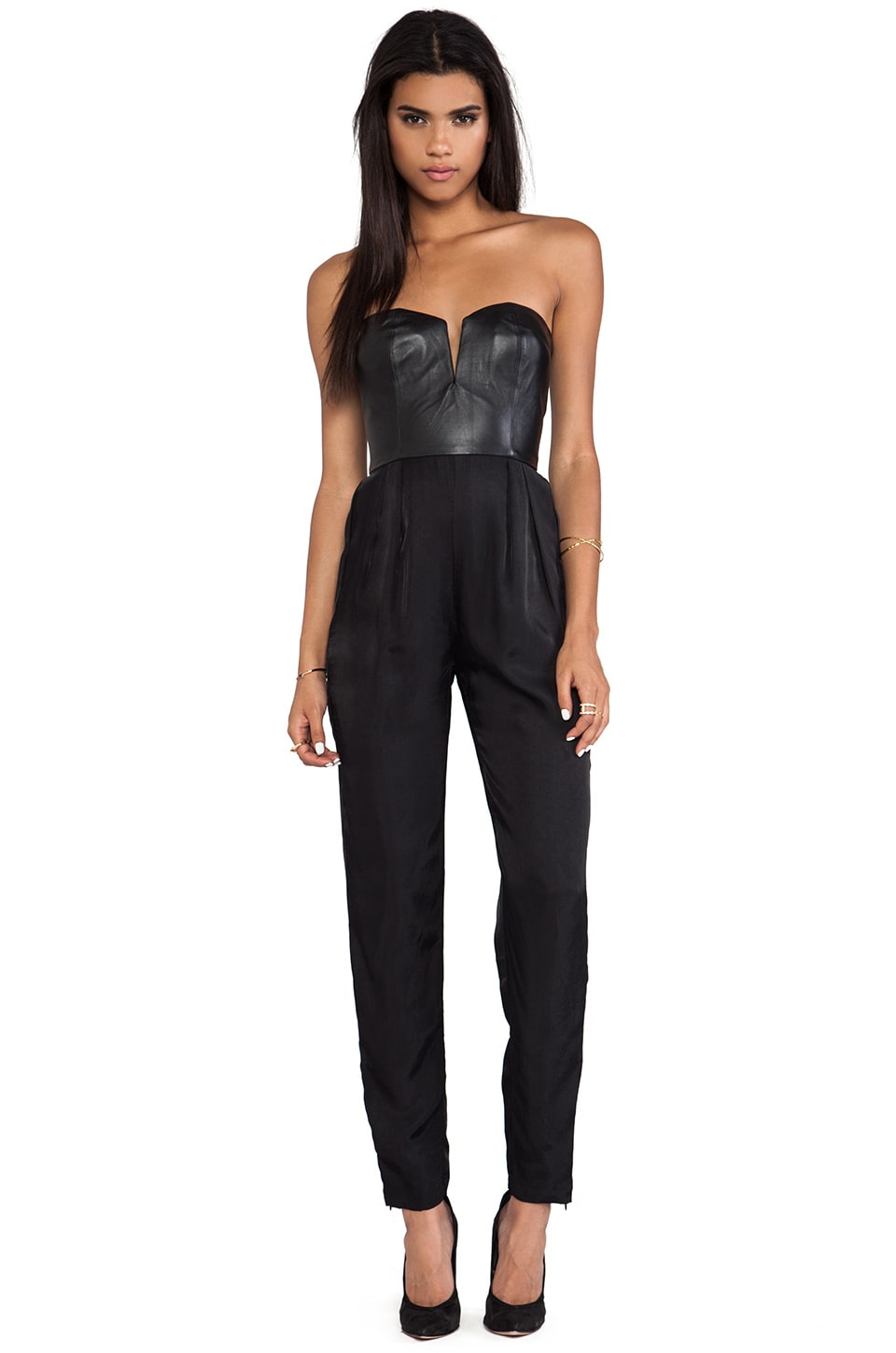 Shakuhachi Sculpted Leather Bustier Jumpsuit in Black