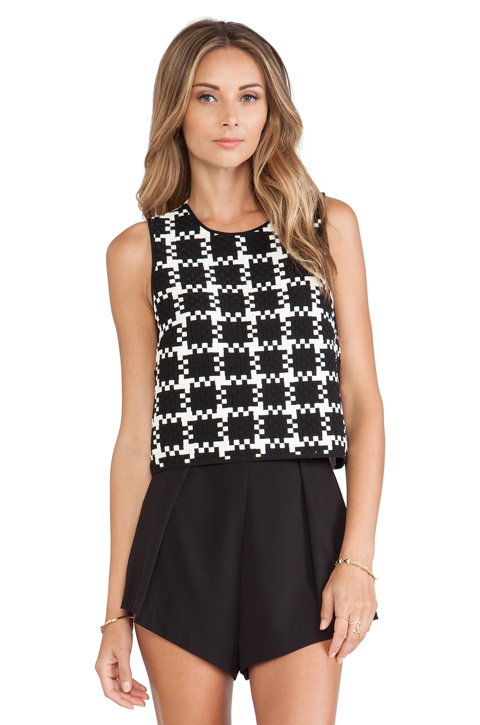 Shakuhachi Check Weave Sleeveless Top in Black & White