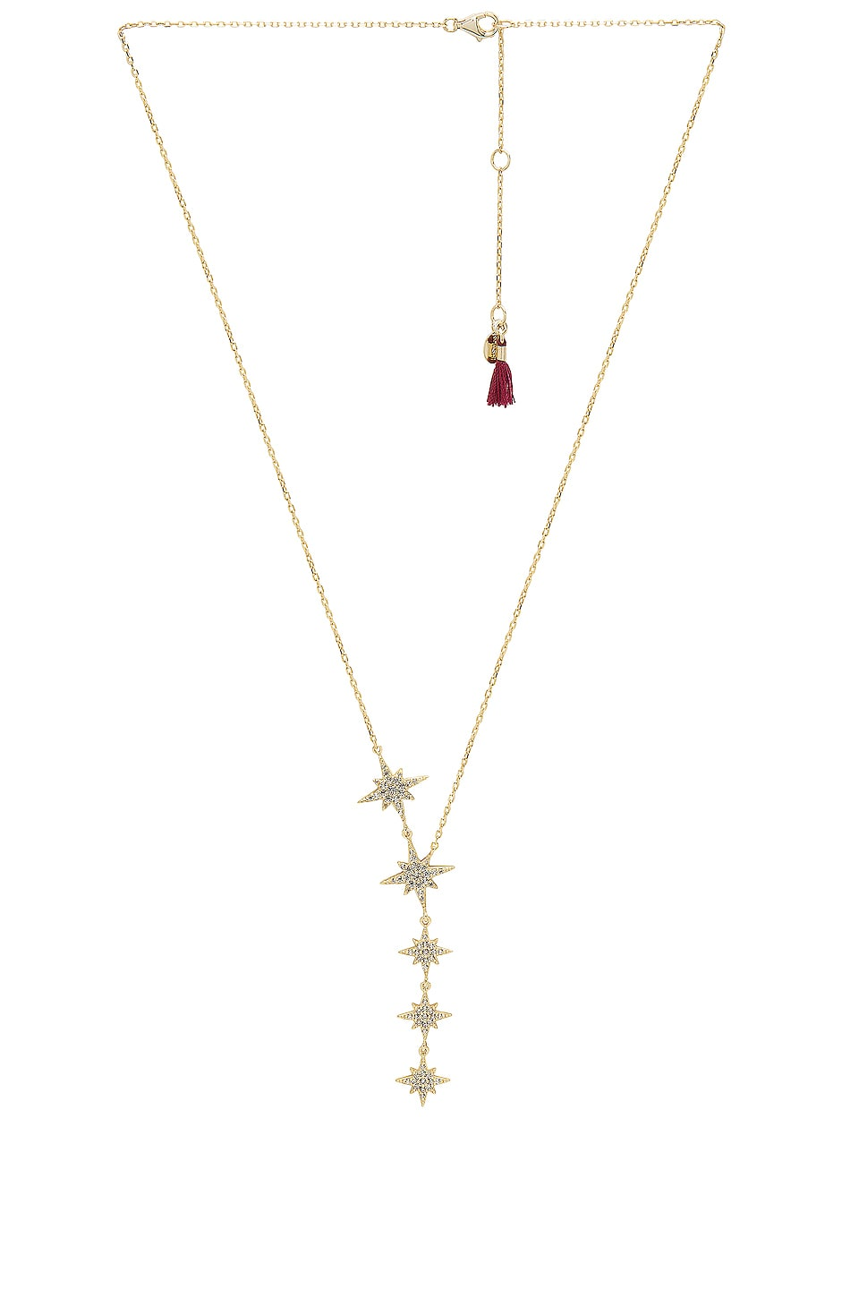 SHASHI Starburst Lariat Necklace in Yellow Gold