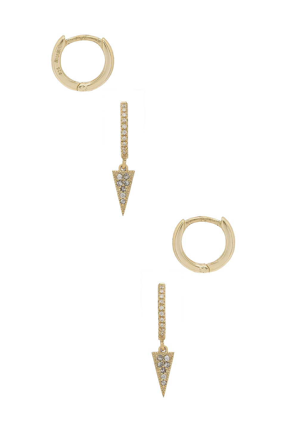 SHASHI Dagger Pave Huggie Set in Gold