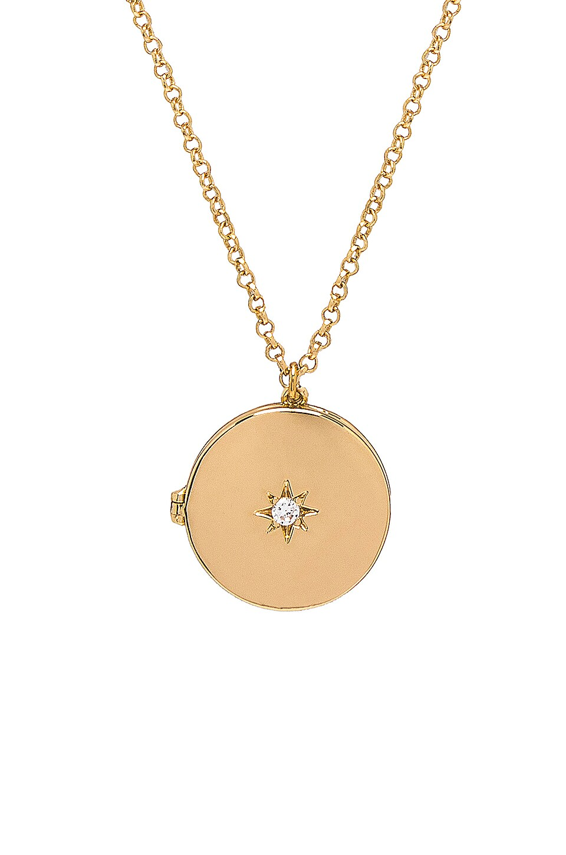 SHASHI Starburst Locket Necklace in Gold