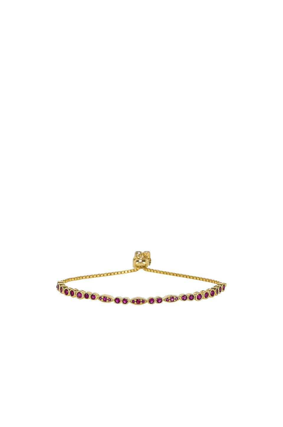 SHASHI Nadia Tennis Slide Bracelet in Ruby & Gold
