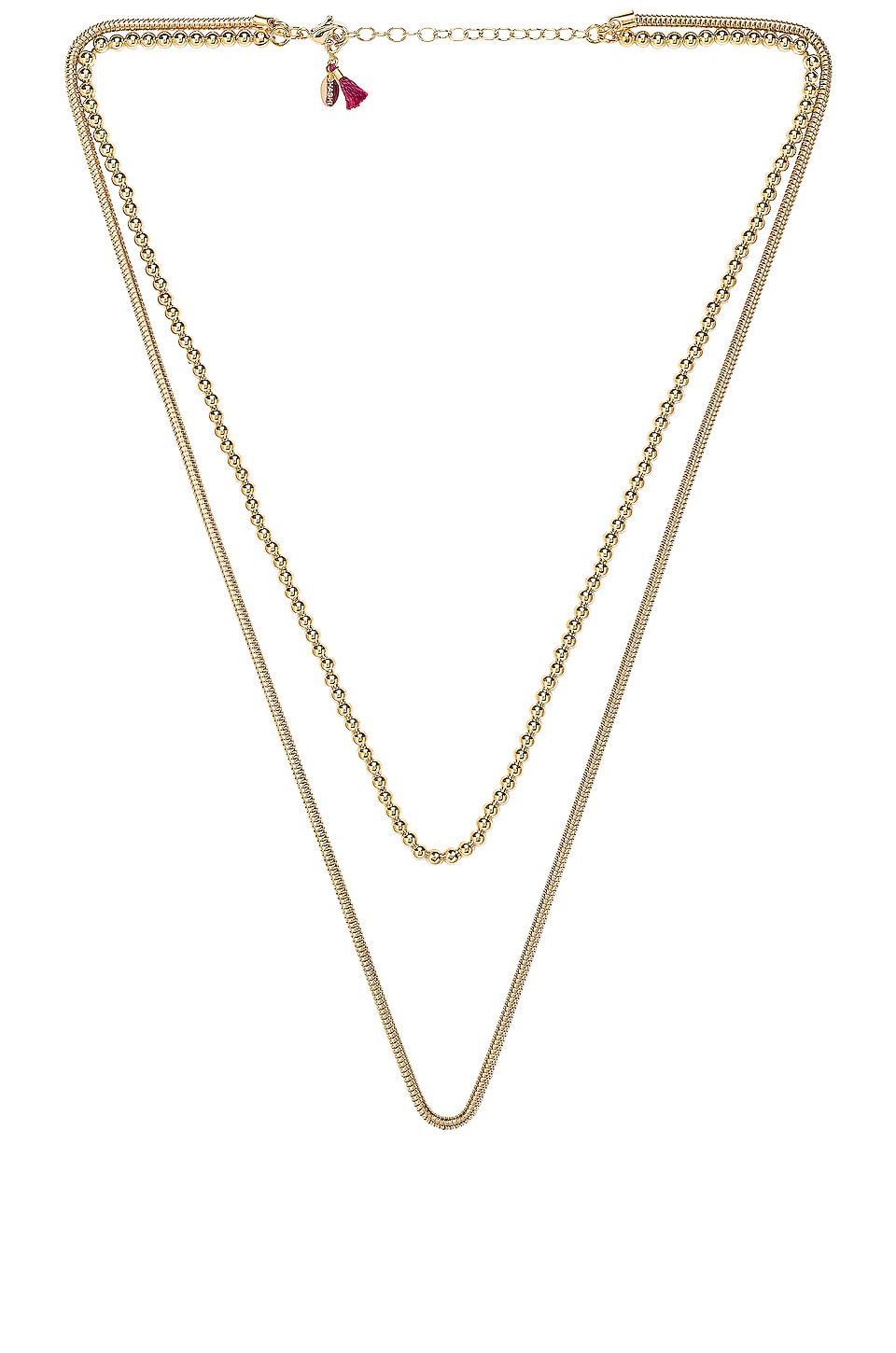 SHASHI Double Necklace in Yellow Gold