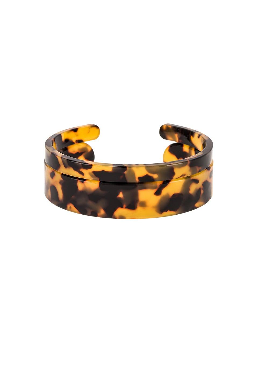 SHASHI Emma Lucite Cuff Bracelet Set in Brown