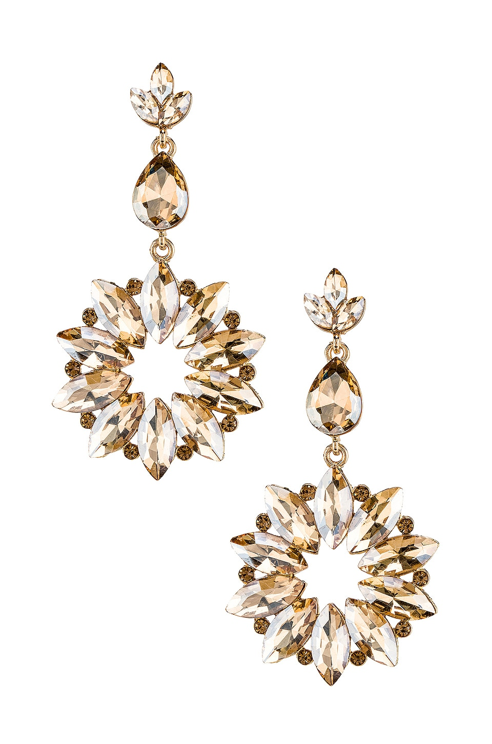 SHASHI Sunburst Crystal Drop Champagne Earring in Gold