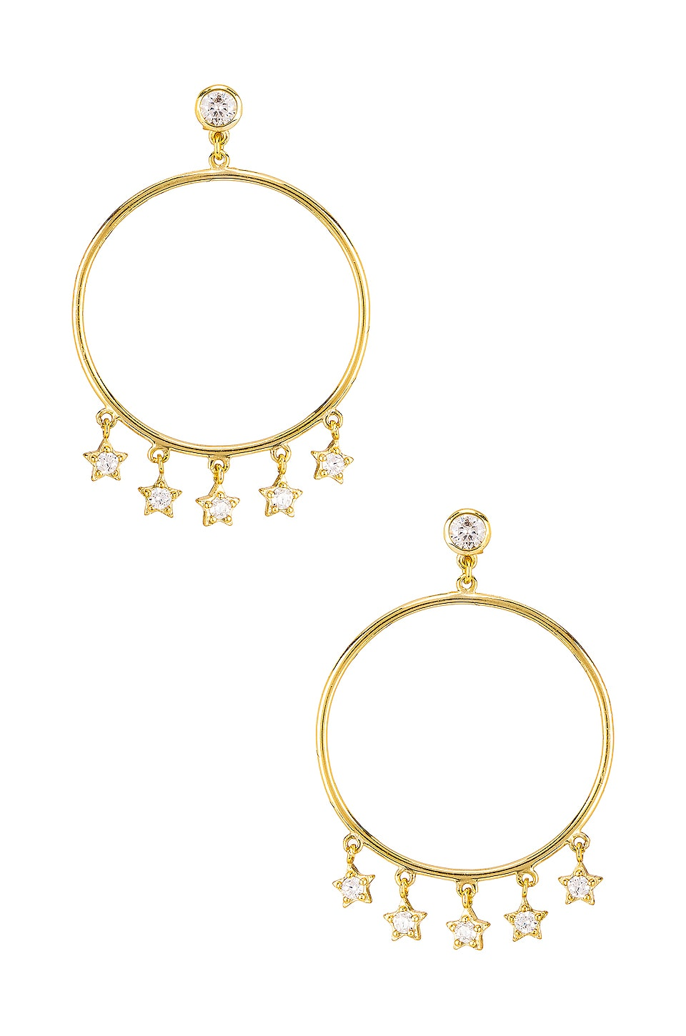 SHASHI Star Dangle Hoop Earrings in Gold