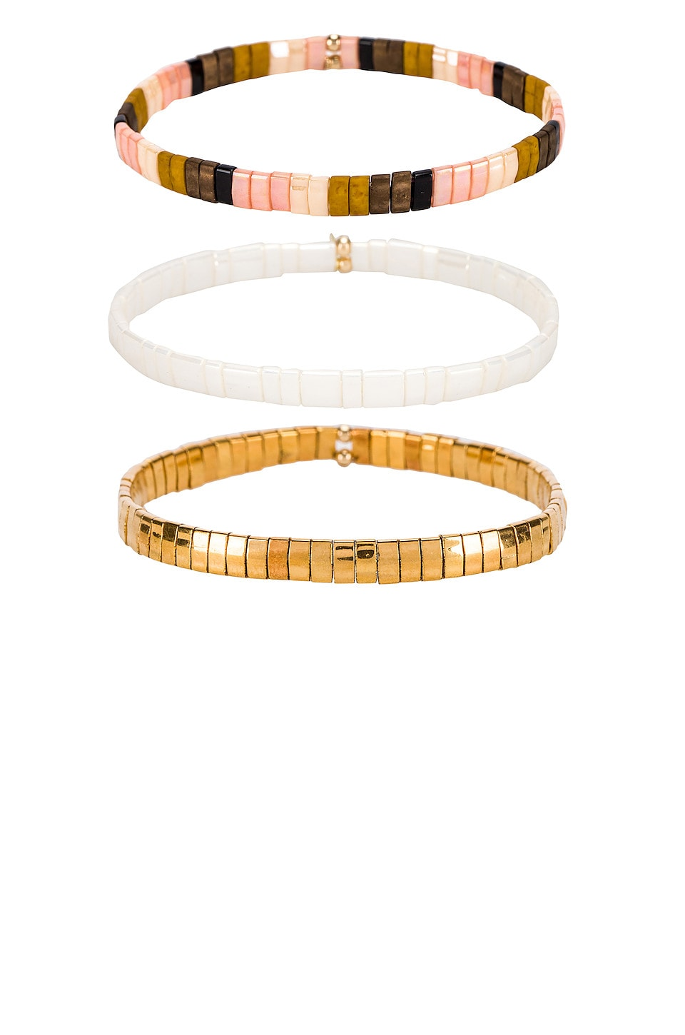 SHASHI Tilu Set of 3 Bracelets in Gold & Cream