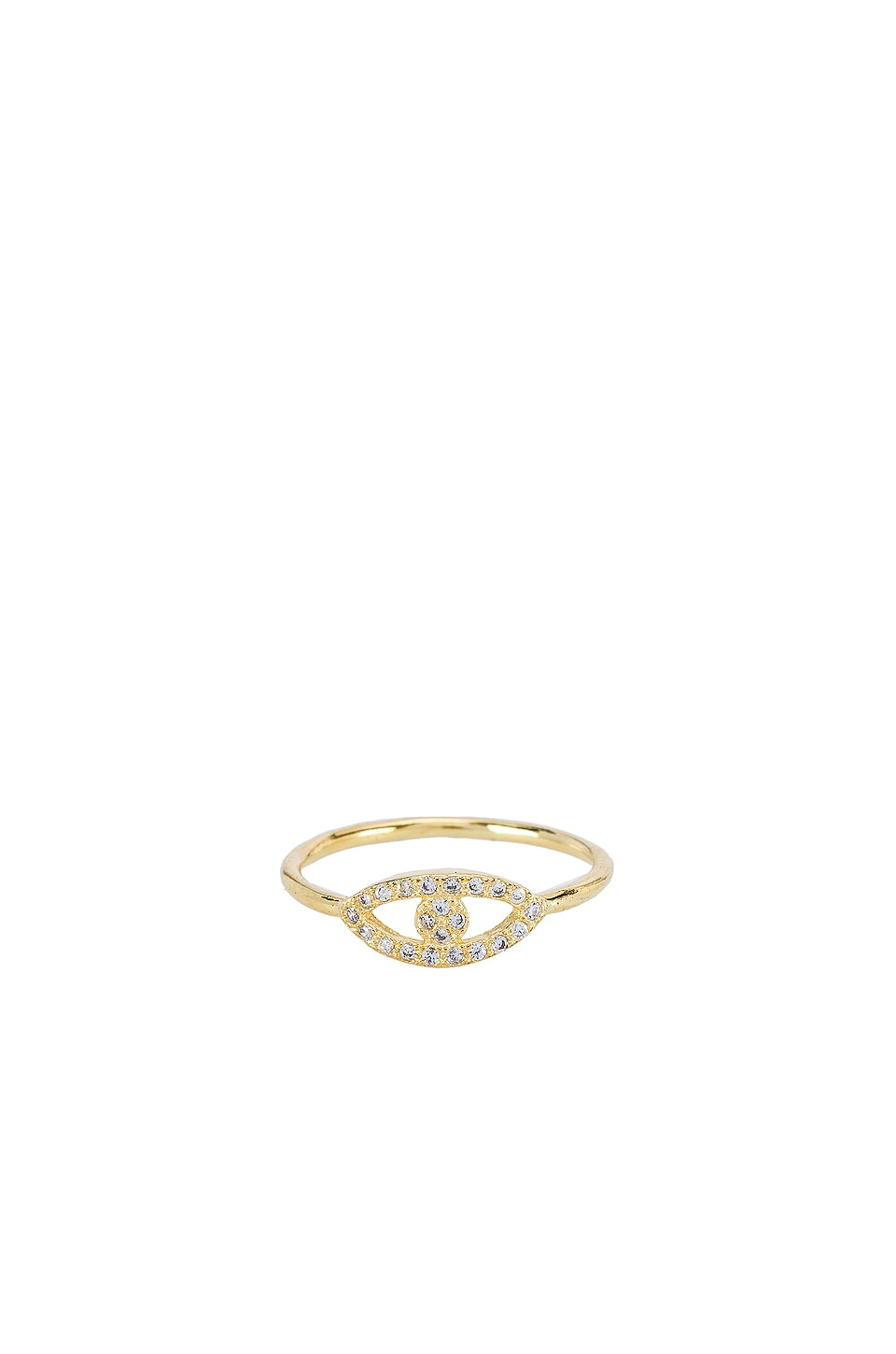 SHASHI Evil Eye Pave Ring in Gold