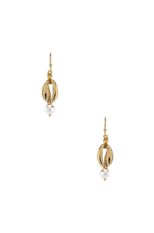SHASHI Sea Pearl Huggie Earrings in Gold