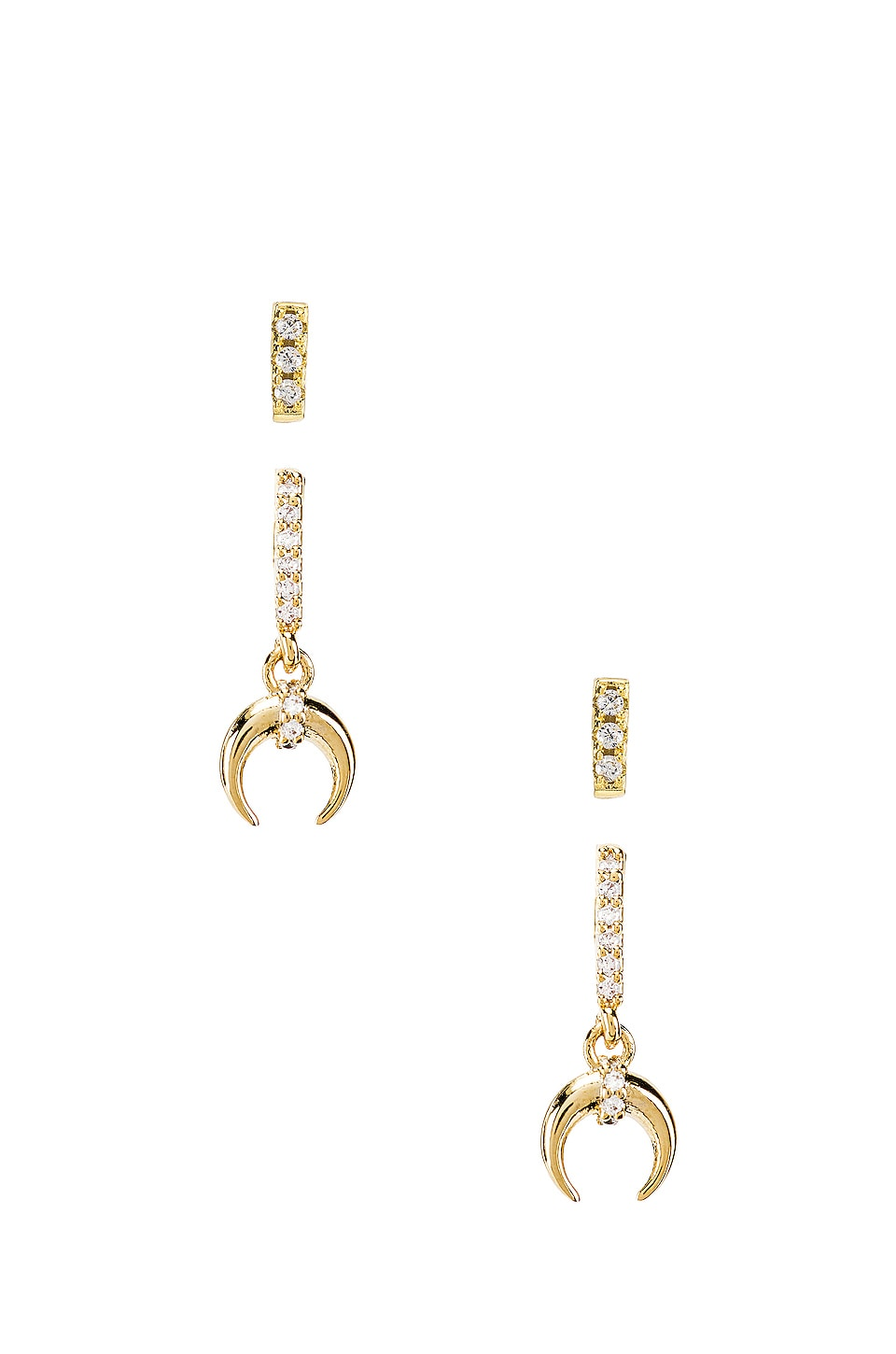 SHASHI Petite Tusk Pave Earring Set in Gold