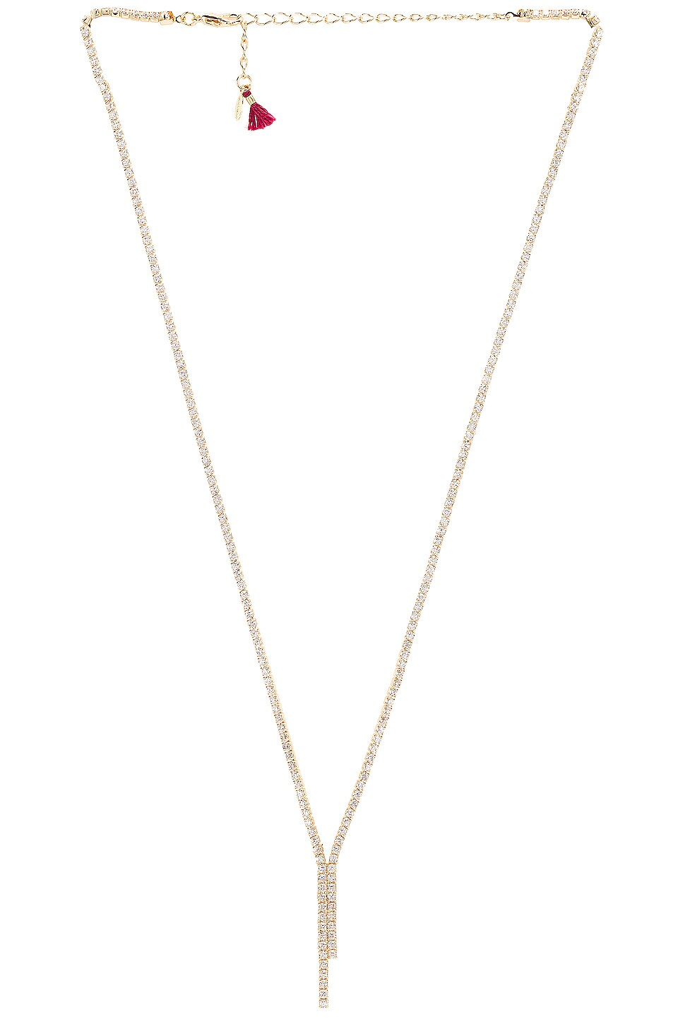 SHASHI Diana Pave Lariat Necklace in Gold