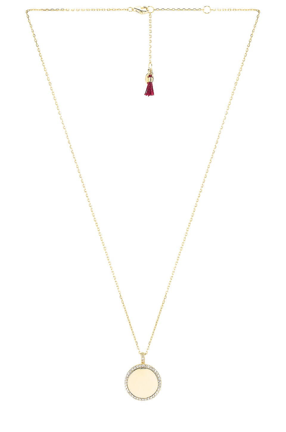 SHASHI Disc Pave Pendant Necklace in Gold