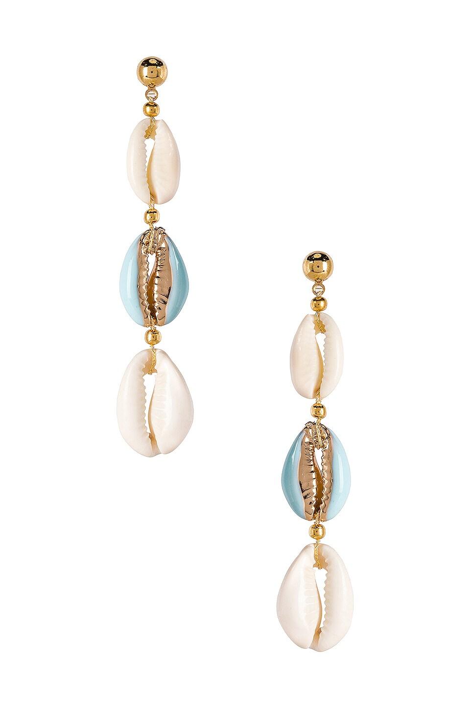 SHASHI Caroline Enamel Drop Earring in Turquoise