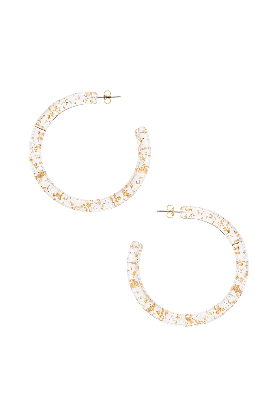 SHASHI Gold Leaf Hoop Earrings in Gold