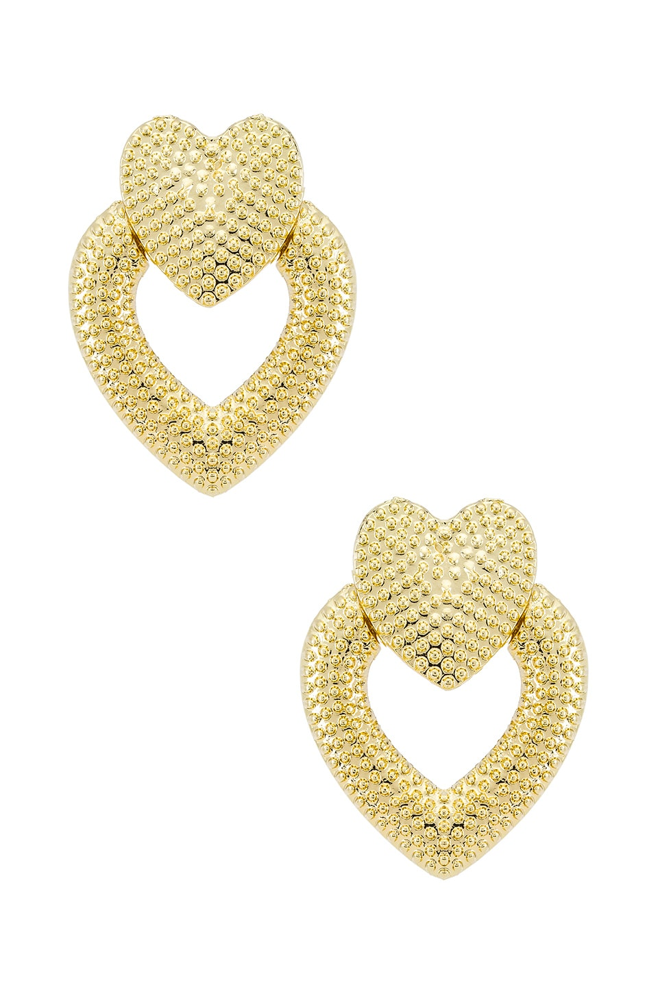SHASHI Heart Knocker Earrings in Gold