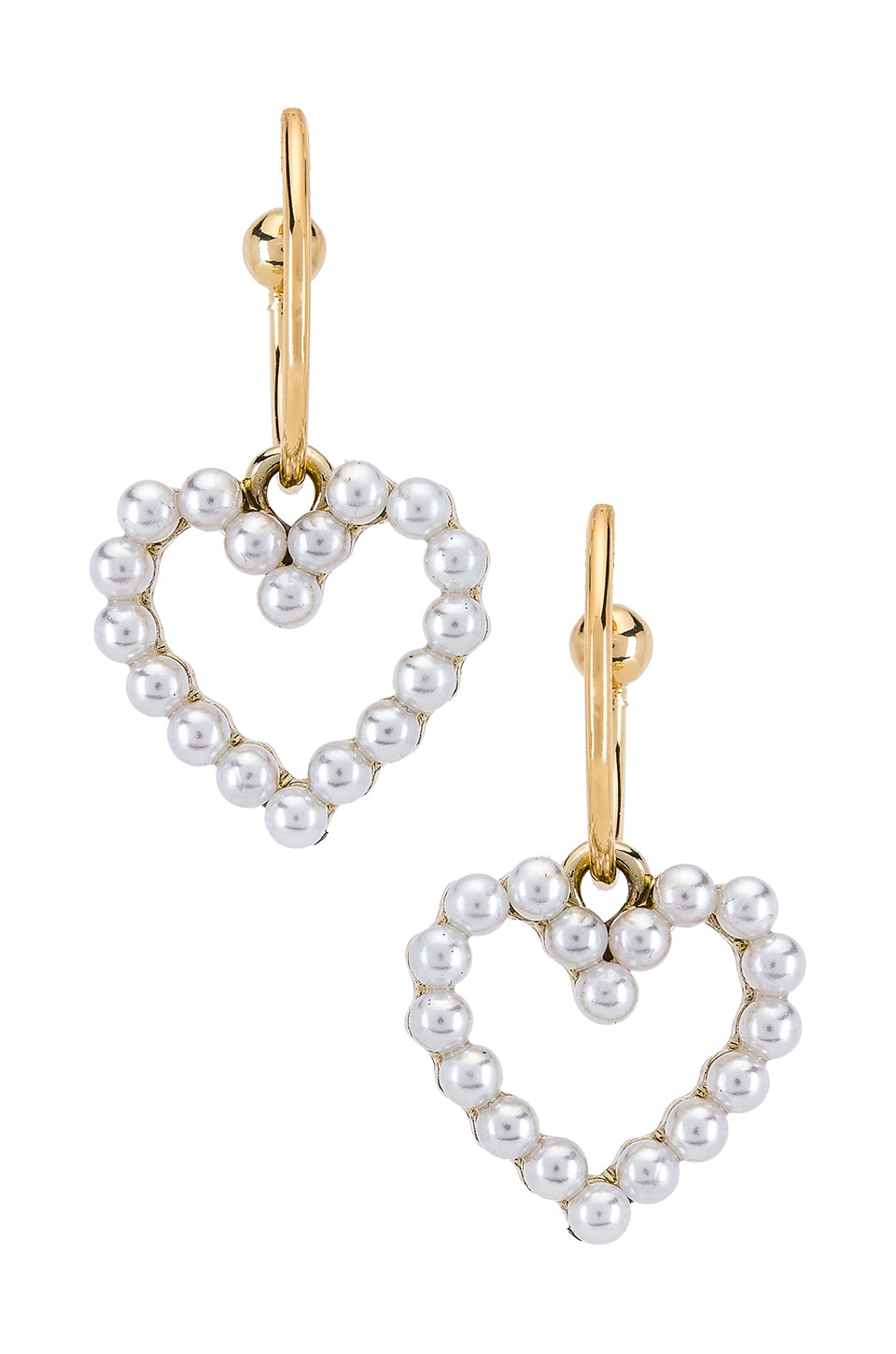 SHASHI Heart Of Pearl Hoop in Gold