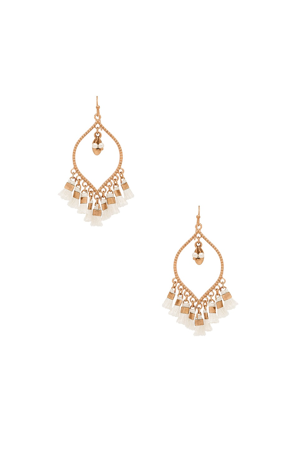 SHASHI Mira Tassel Earring in White