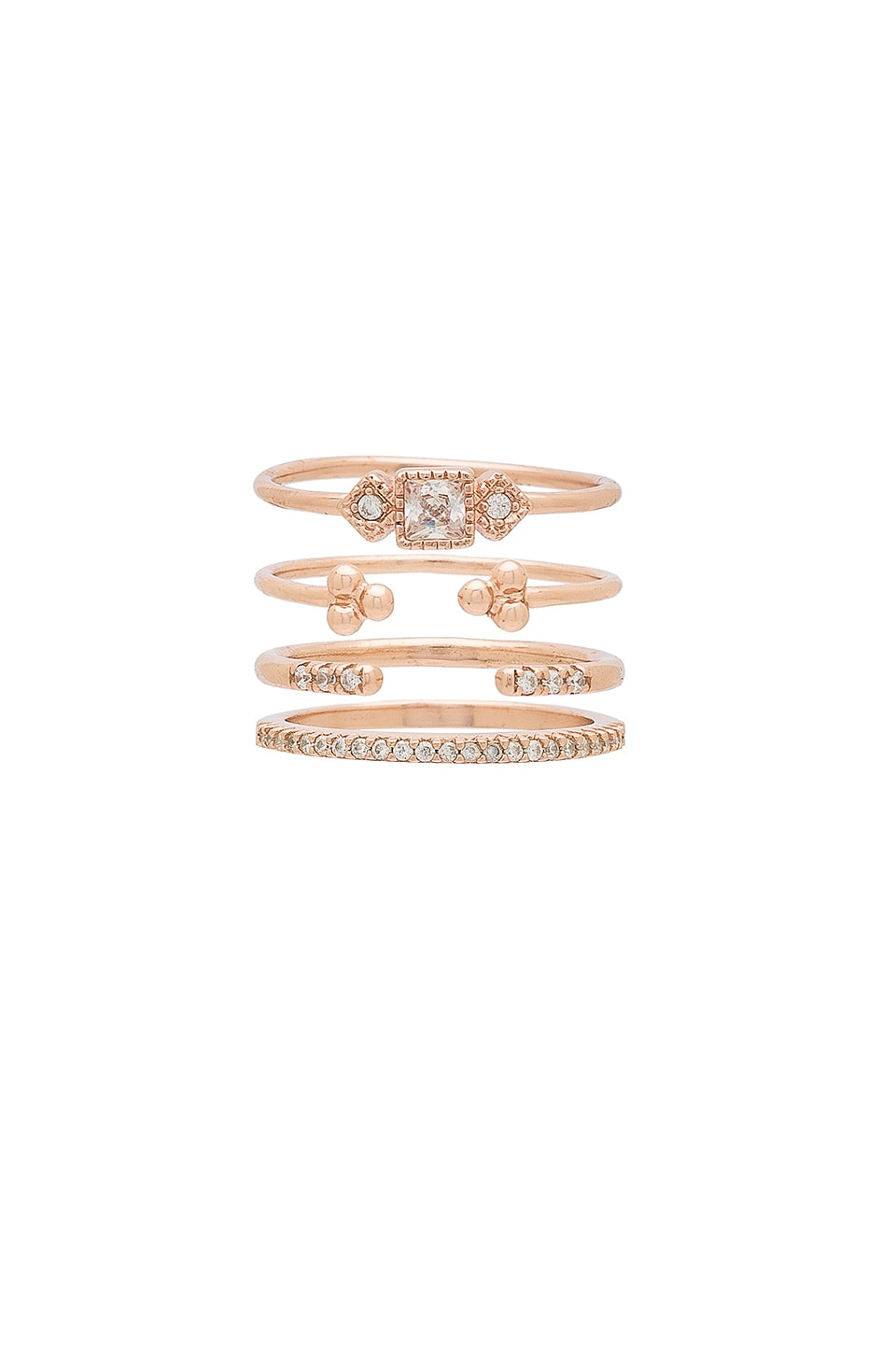SHASHI Jasmine Ring Set in Rose Gold