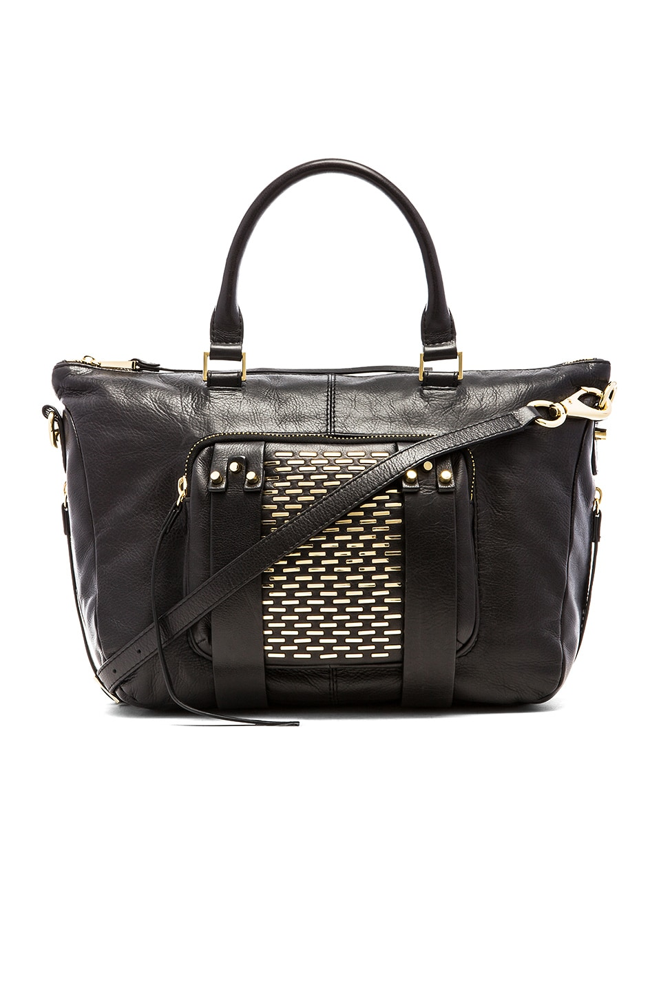 she + lo Next Chapter Studded Small Satchel Bag in Studded Black