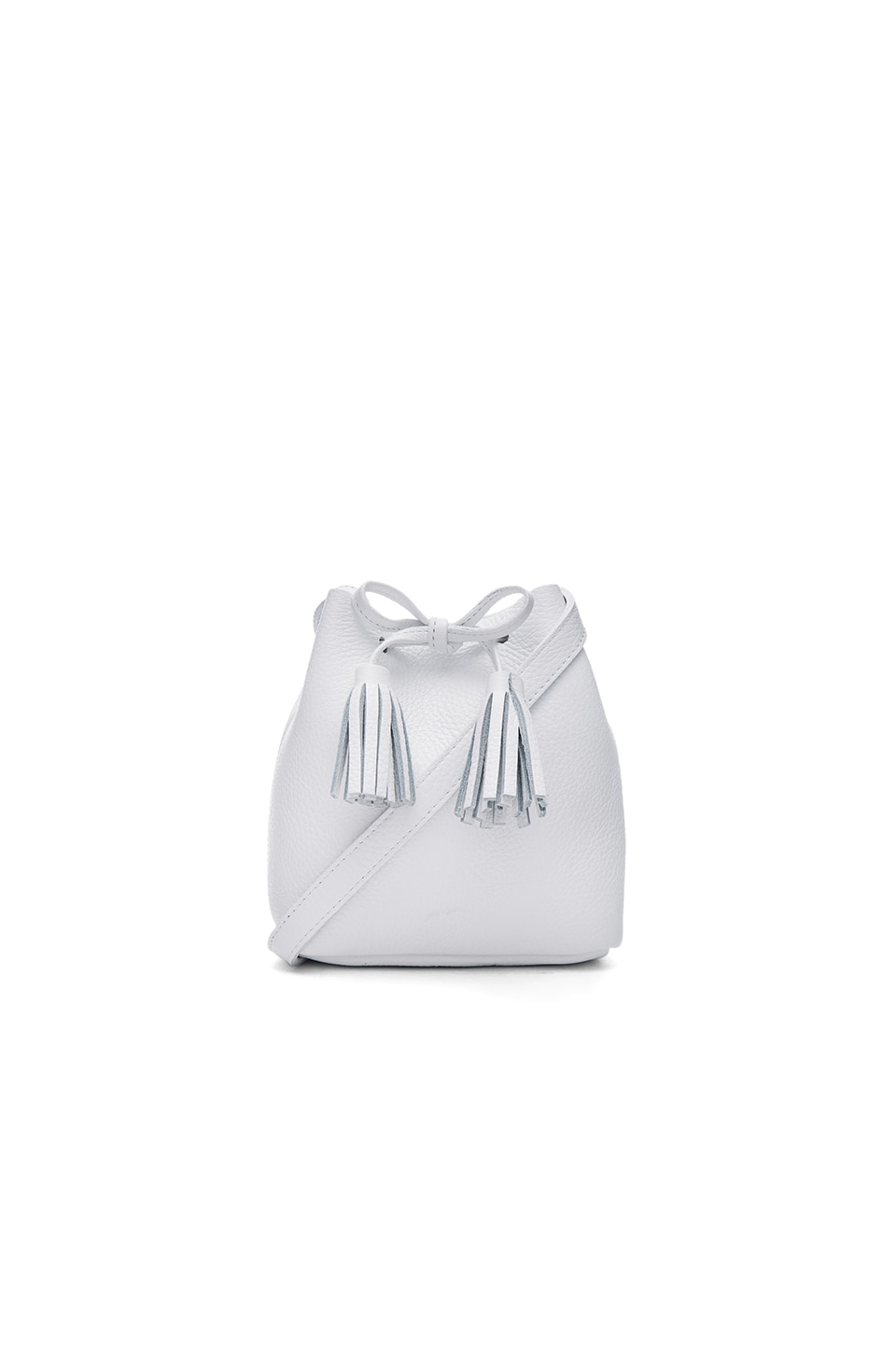 Shaffer Greta Bucket Bag in Pebbled White