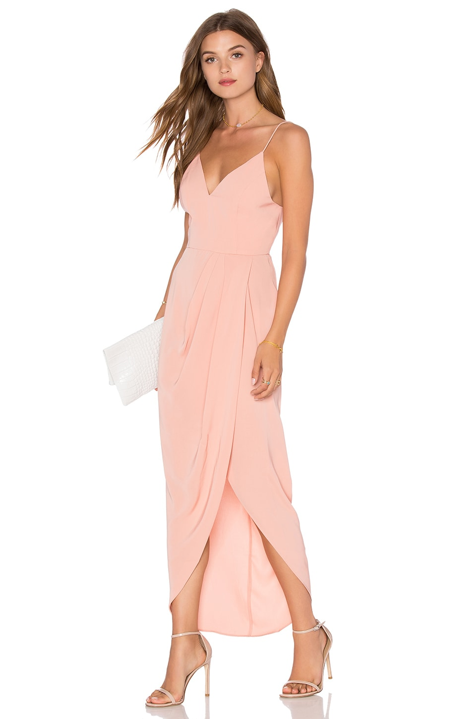 Shona Joy Cocktail Draped Dress in Dusty Pink | REVOLVE