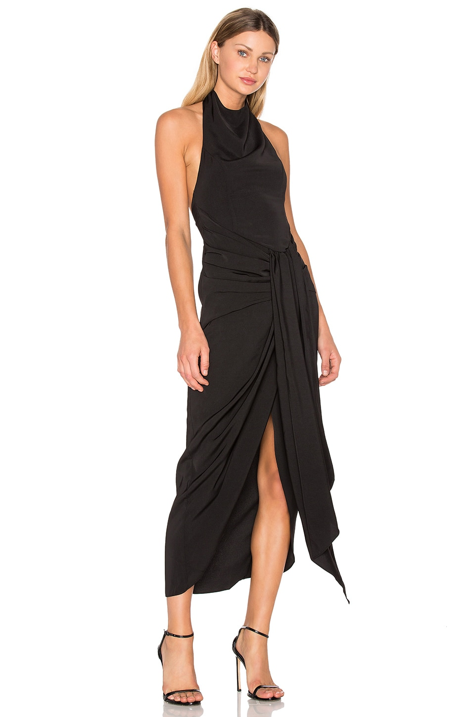 Voltaire Backless Draped Midi Dress by Shona Joy