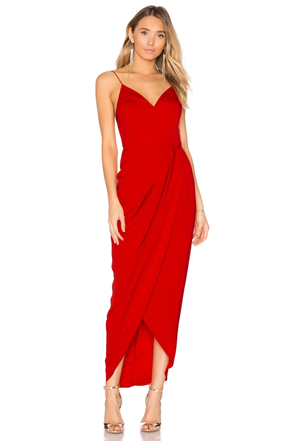Shona Joy Cocktail Draped Dress in Tomato