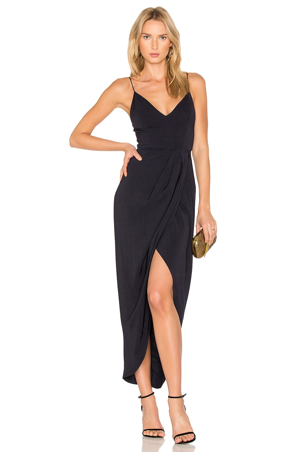 Shona Joy Cocktail Draped Dress in Navy