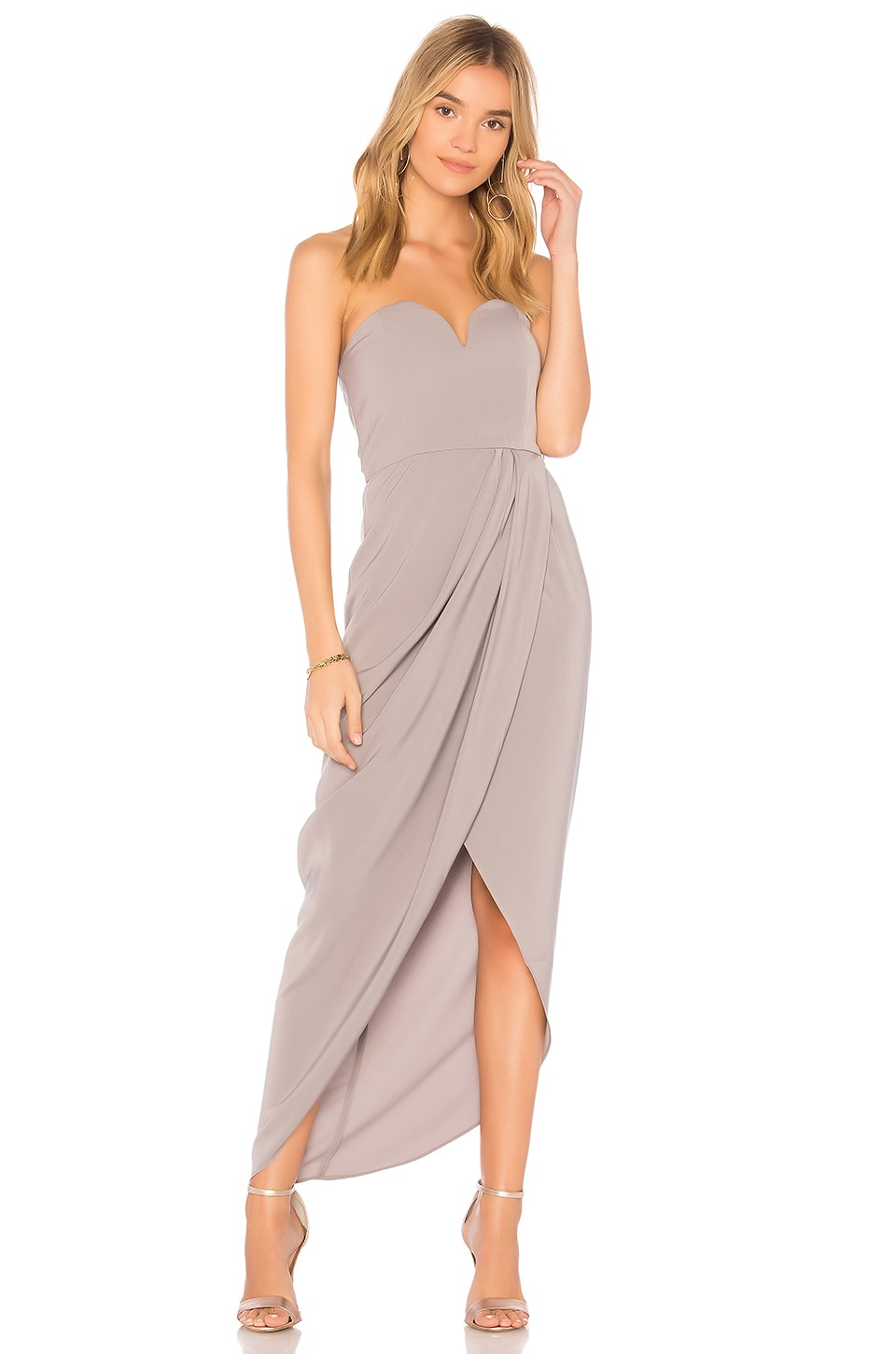 Shona Joy U Wire Bustier Draped Dress in Grey