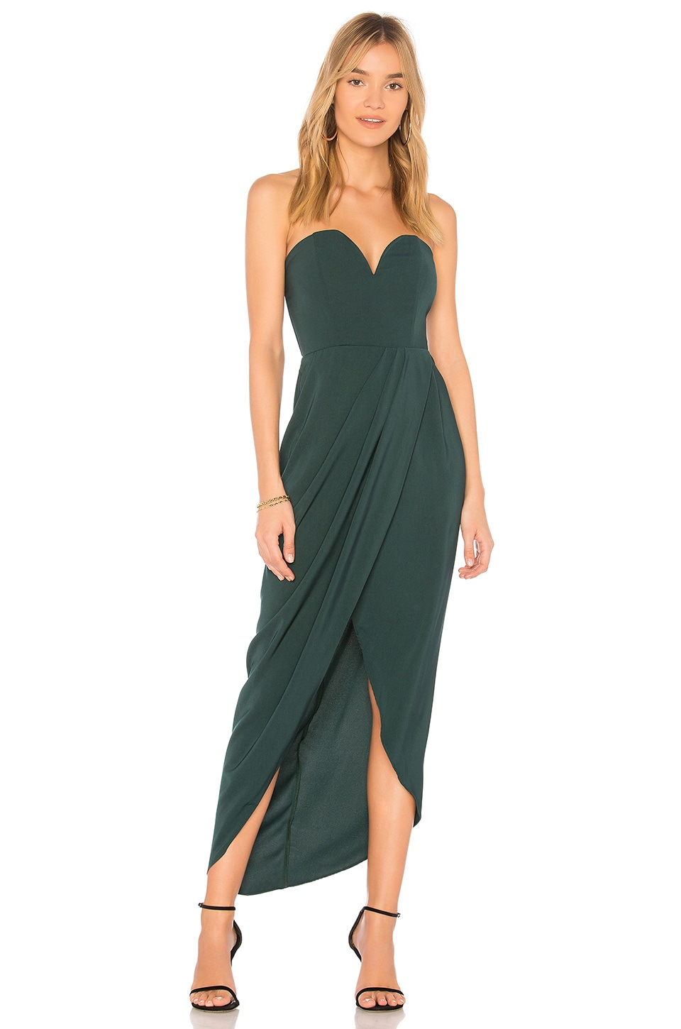 Shona Joy U Wire Bustier Draped Dress in Seaweed