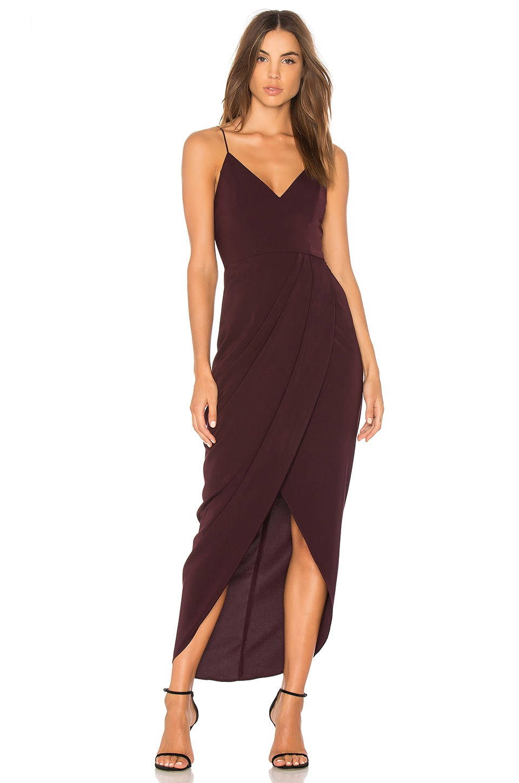 Shona Joy Cocktail Draped Dress in Aubergine