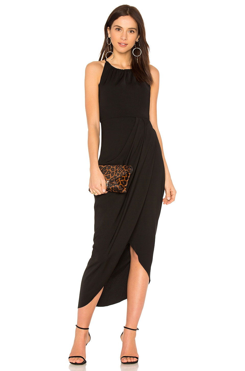 Shona Joy High Neck Ruched Dress in Black