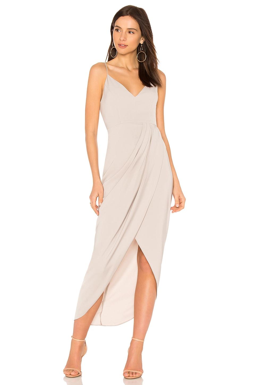 Shona Joy Cocktail Draped Dress in Oyster