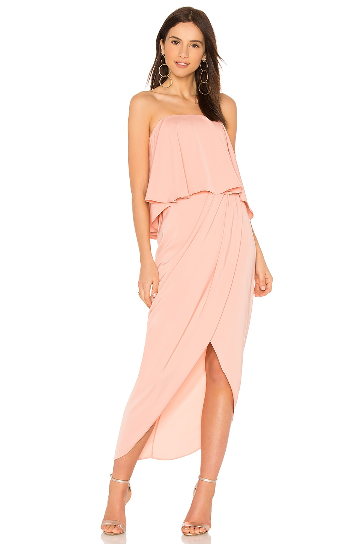 Shona Joy Strapless Frill Dress in Dusty Pink