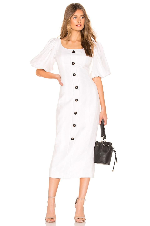 Shona Joy Gaia Fitted Midi Dress in Ivory