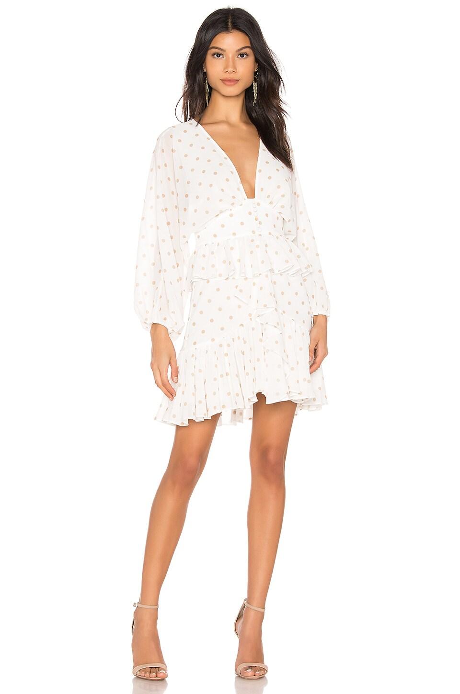 Shona Joy Sophia Plunged Ruffle Mini Dress in White & Nude Spot